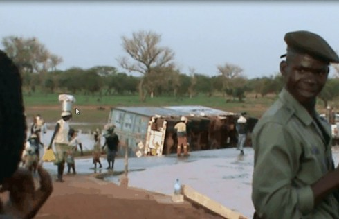 Cyanide spill at Djibo dam - a Vehrad Transport truck heading for the Inata gold mine overturns in the water