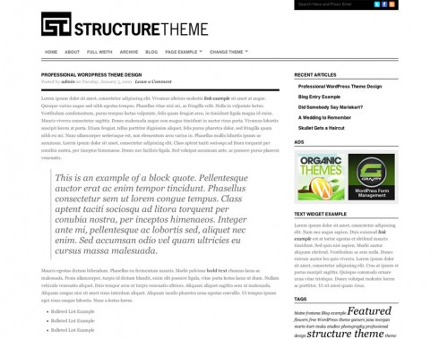 Structure Theme - a great wordpress theme for writers and authors