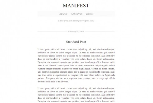 Manifest WordPress Theme by Jim Barraud - a great theme for writers and authors