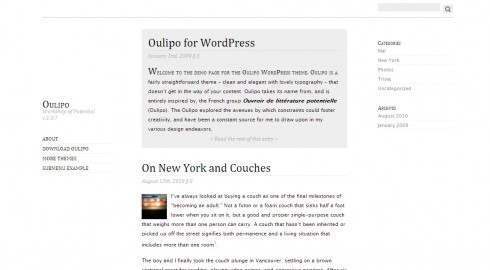 Oulipo Minimalist WordPress theme for writers and authors