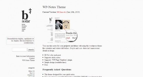 WP Notes wordpress theme - the perfect theme for a writer