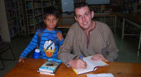 how to arrange an author visit - picture of Stephen Davies during an author visit
