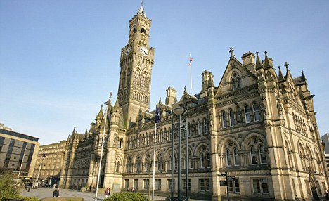 City of Bradford, England. The gothic Bradford City Hall viewed from Centenary Square.
