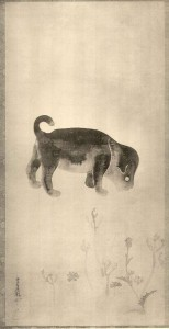Sotatsu puppy - detail of hanging scroll