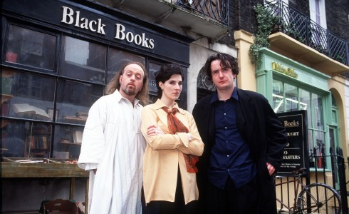 Manny, Fran and Bernard Black - the characters in the sitcom Black Books