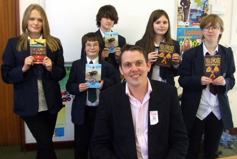 Stephen Davies with Hampshire Book Award Students