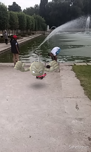 Geodude on a scooter.